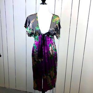 Silk Velvet Floral Midi Dress Sz M